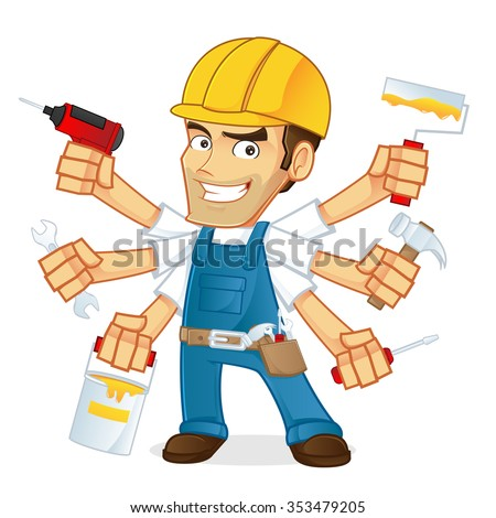 handyman holding multiple tools - stock vector