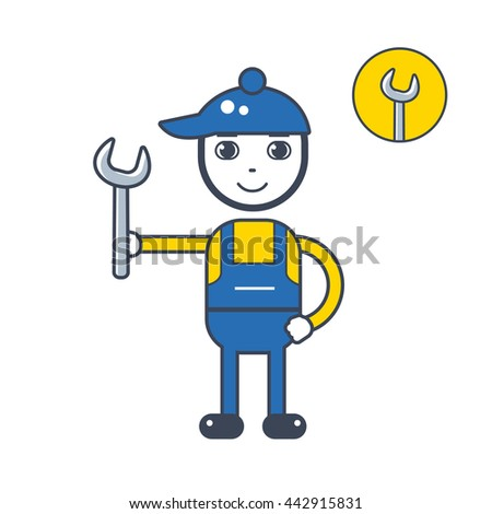 Handyman mechanic character holding a wrench tool, icon isolated. - stock vector