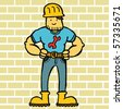 handyman on brick background - stock vector