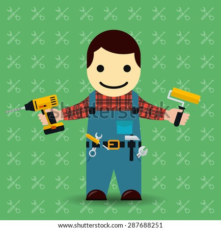 Handyman or mechanic vector illustration. Worker and tools, repairman and service - stock vector