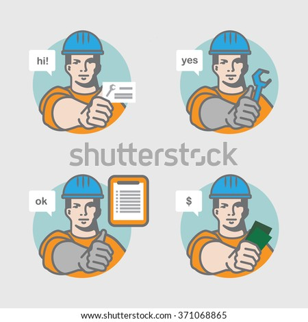 Handyman/ repairman  service process - stock vector