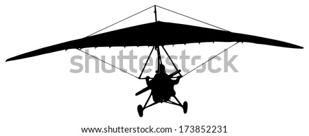 hang-glider silhouette on a white background
