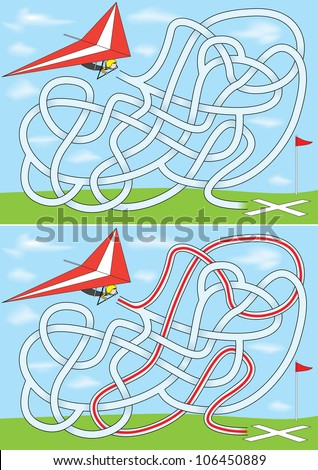 Hang gliding maze for kids with a solution - stock vector