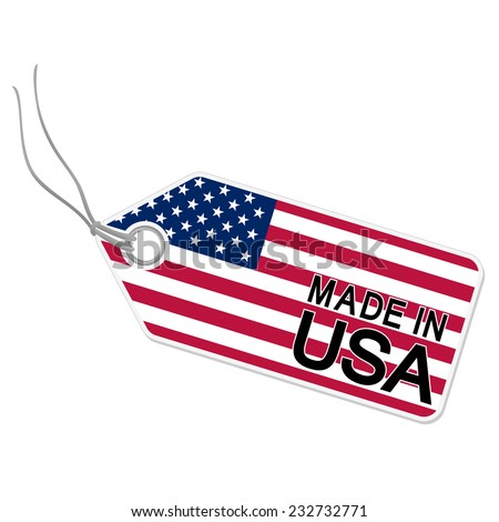 hang tag with flag of the USA and text MADE IN USA - stock vector