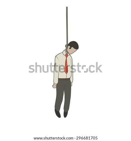 hanged businessman - stock vector