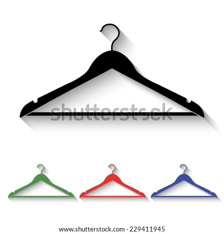 hanger icon - black and colored (green, red, blue) illustration with shadow - stock vector