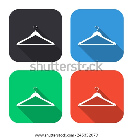 hanger icon - colored illustration (gray, blue, green, red) with long shadow - stock vector