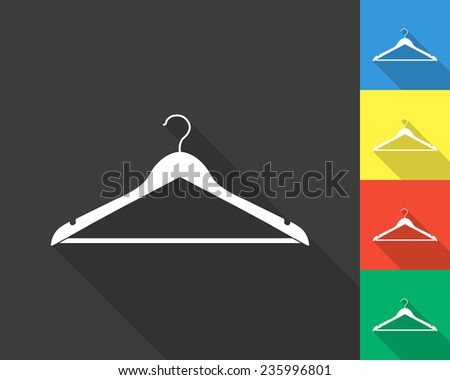 hanger icon - gray and colored (blue, yellow, red, green) vector illustration with long shadow - stock vector
