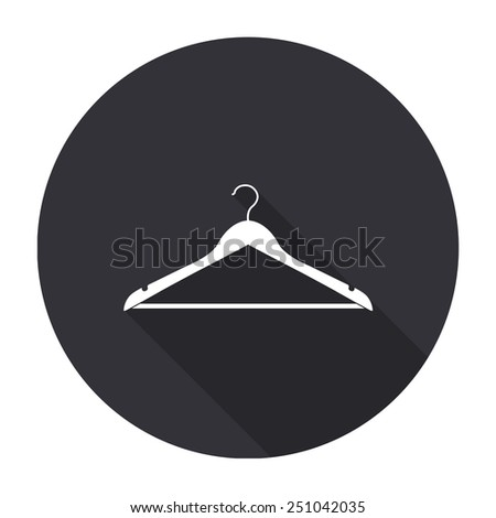 hanger icon with long shadow - vector round button - stock vector