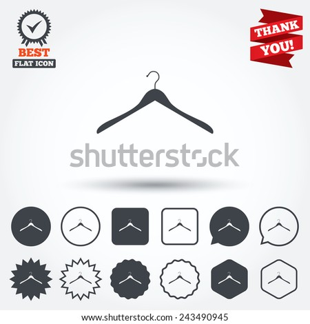 Hanger Sign Icon Cloakroom Symbol Circle Star Speech Bubble And Square Buttons