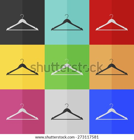 Hanger vector icon - colored set. Flat design - stock vector