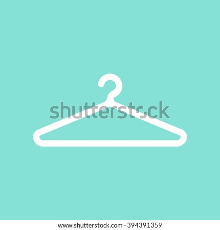 Hanger    vector icon. White  illustration isolated on green  background for graphic and web design. - stock vector