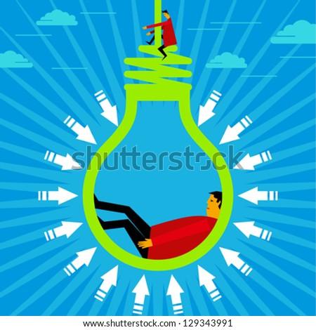hanging a new idea - stock vector