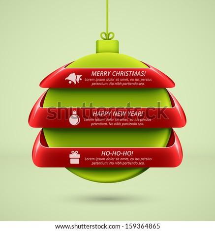 Hanging ball, Christmas infographics, eps 10 - stock vector
