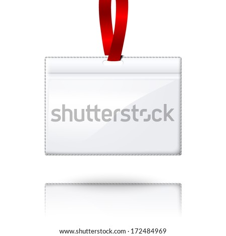 Hanging blank vector realistic horizontal badge holder with bright red light lace. Isolated on white background with reflection for design and branding. Vector