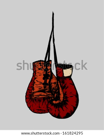 hanging boxing gloves - stock vector