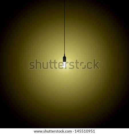 hanging bulb lights turned over on black background - stock vector
