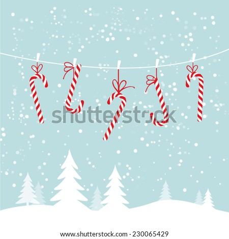 Hanging candy canes in snowy winter scene - stock vector