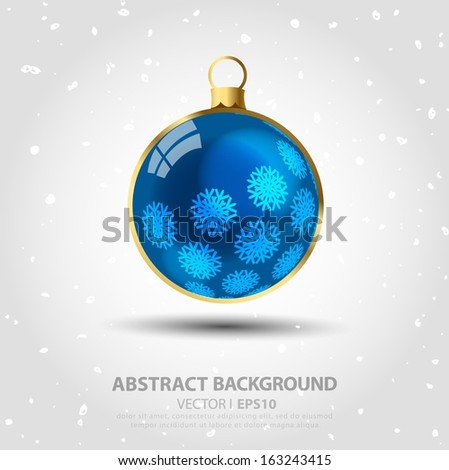 Hanging Christmas ball blue on a gray background with a snowflake ornament. Vector EPS 10 illustration.