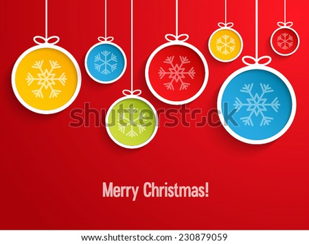 Hanging Christmas balls. Vector illustration. - stock vector