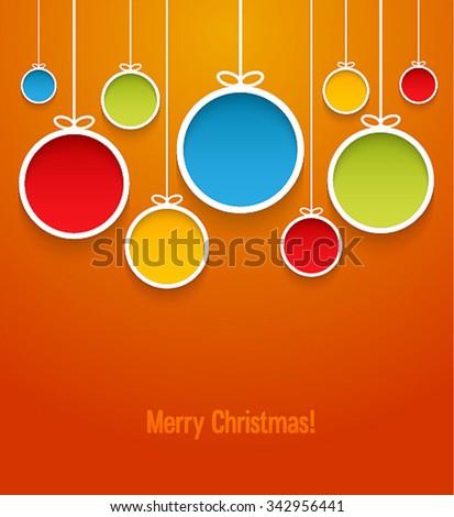 Hanging Christmas balls. Vector illustration. - stock vector