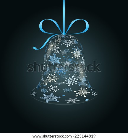 Hanging christmas bell made of snowflakes - stock vector