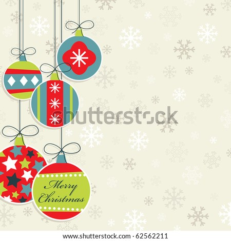 hanging christmas decorations on snowflake background, with clipping mask - stock vector