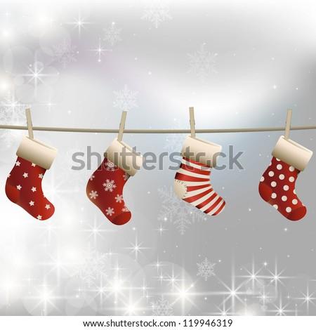 Hanging christmas socks on a clothesline. White christmas image. - stock vector