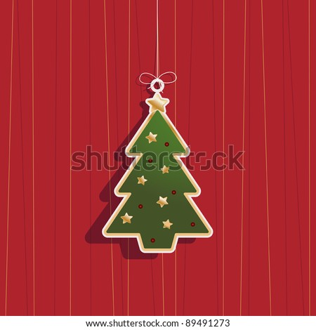 hanging christmas tree decoration on red background - stock vector