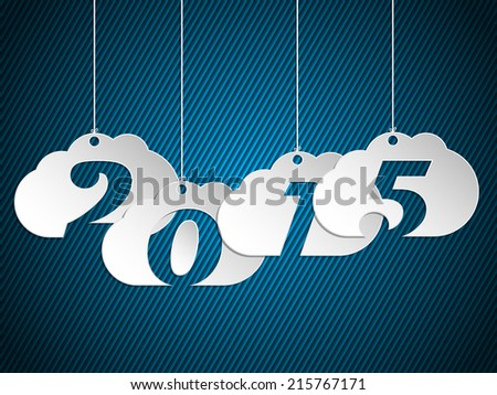 Hanging 2015 clouds over dark blue striped background - stock vector