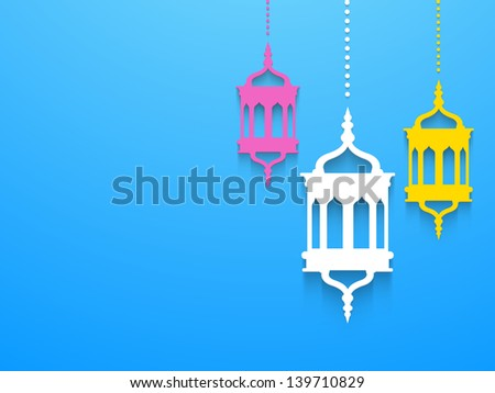 Hanging colorful Arabic lamps or lanterns on blue background, concept for Muslim community holy month Ramadan Kareem or Ramazan Kareem. - stock vector