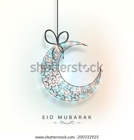 Hanging colourful crescent moon for muslim community festival Eid Mubarak celebrations.  - stock vector