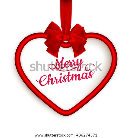 Hanging crimson Christmas Heart frame with silky ribbon and bow isolated on white. EPS 10 vector file included - stock vector