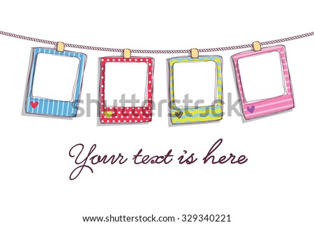 hanging cute frame - stock vector