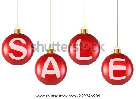 Hanging decoration Christmas red balls with sale letters. - stock vector