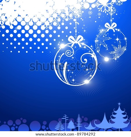hanging decorative Christmas Balls in shiny blue color background with stylish Xmas trees Christmas & other occasions.