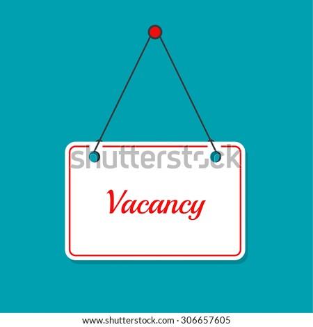 Hanging door plates. Vacancy. Requires assistant. There is work - stock vector