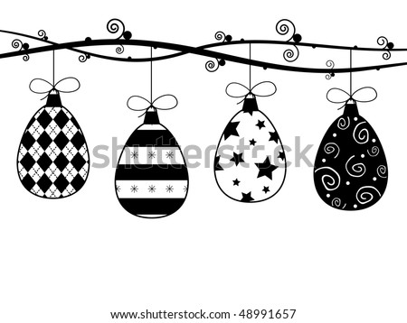 hanging easter decorations in black and white