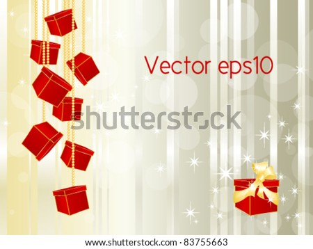 Hanging gift boxes on a string against striped abstract background - Christmas vector illustration