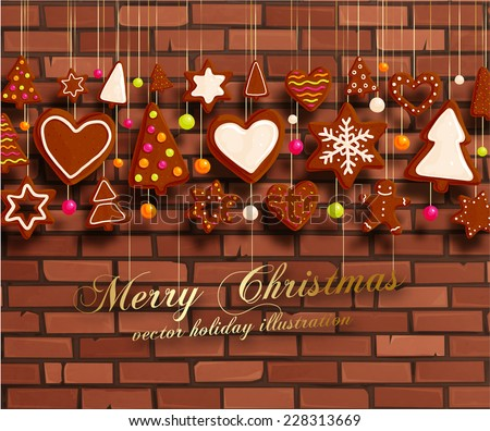 Hanging Gingerbread Christmas Cookies for Xmas Decoration. Brick Wall Texture Background. Vector.  - stock vector