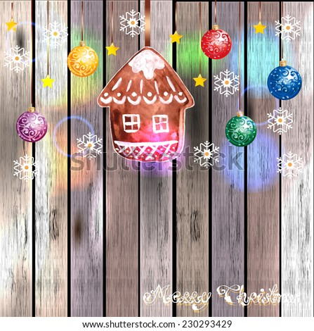 Hanging Gingerbread Christmas Cookies for Xmas Decoration with color decoration ball. Wood Texture Background, Vector - stock vector