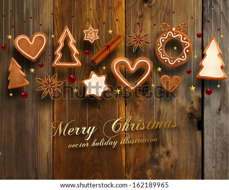 Hanging Gingerbread Christmas Cookies for Xmas Decoration. Wood Texture Background. Vector. - stock vector