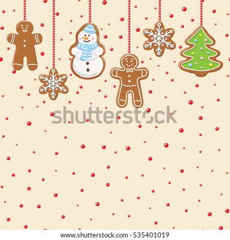 Hanging gingerbread man, tree, snowman and stars cookie isolated on beige color with red beads.  Christmas background. Vector illustration.