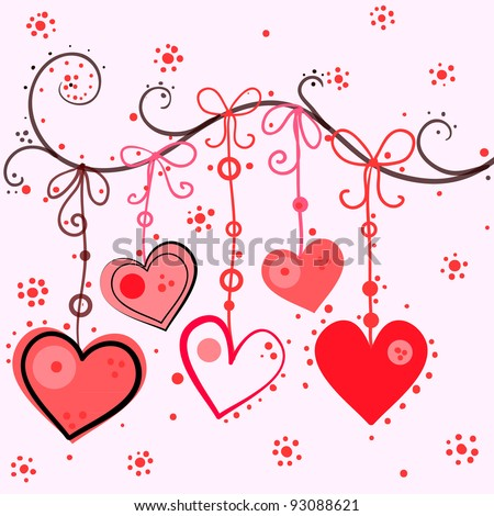 Hanging hearts, vector - stock vector