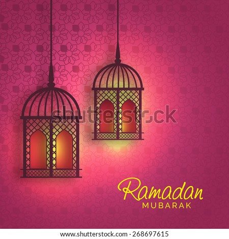Hanging iIlluminated intricate Arabic Lamp with on abstract night background for Ramadan Kareem. - stock vector