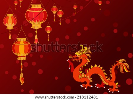 hanging lanterns background. Chinese lanterns and dragon - stock vector