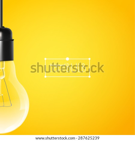 Hanging light bulb on a yellow background with copy space. Vector illustration for your modern design - stock vector