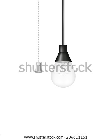 Hanging light bulb with cord switch - stock vector