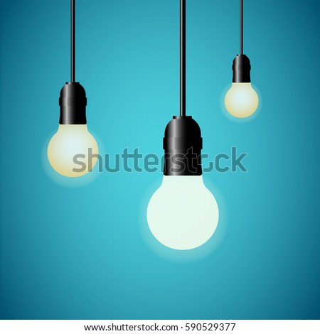 hanging light bulbs glowing on blue background vector