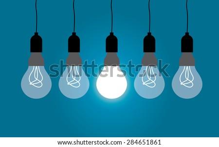 Hanging light bulbs, idea concept - stock vector